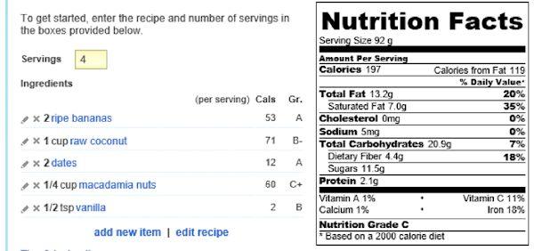 recipe analyser