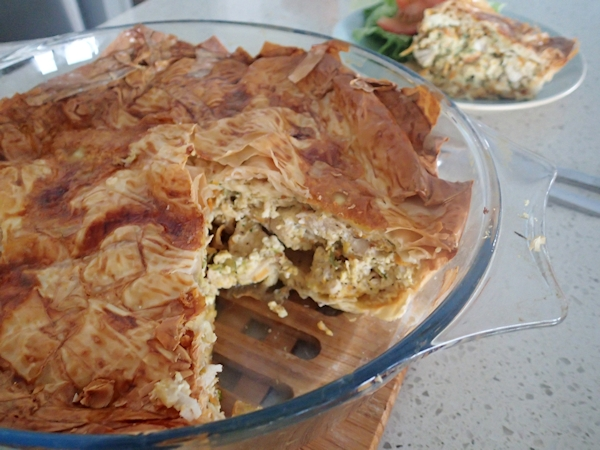 low fat chicken filo pie