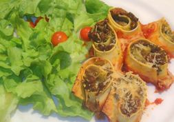 Family meal - healthy lasagne rolls