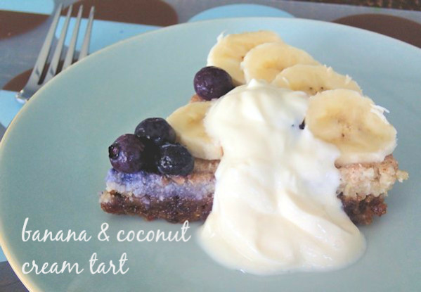 raw banana and coconut cream tart