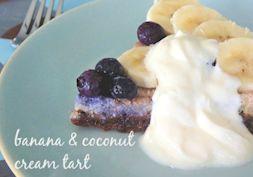 Raw banana and coconut cream tart