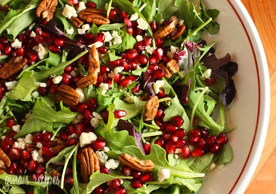 mixewd greens pomegranate - 13 Ways to Jazz Up a Salad (and make it even more satisfying)