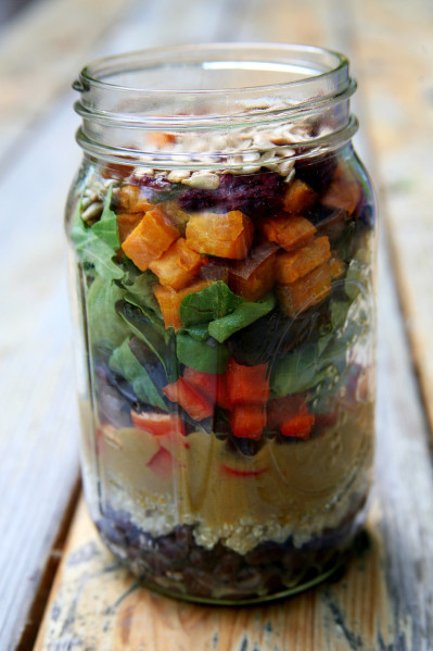 sweet potato mason jar salad
