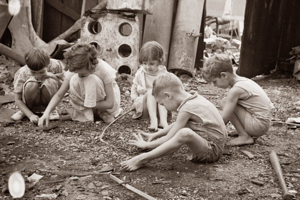 children playing dirt