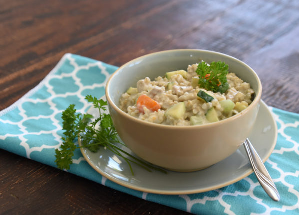 chickenrisottolarge 599x431 - Slow Cooker Vegetable and Chicken Risotto Soup