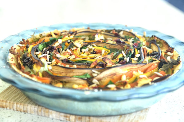 roast vegetable spiral tart