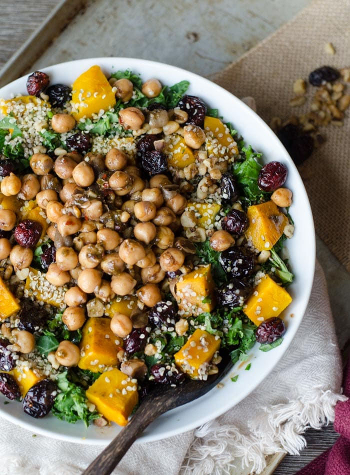 roasted squash kale salad with marinated chickpeas Vegan Gluten free 7 of 16 - How to Eat More Plant Based Meals Each Week