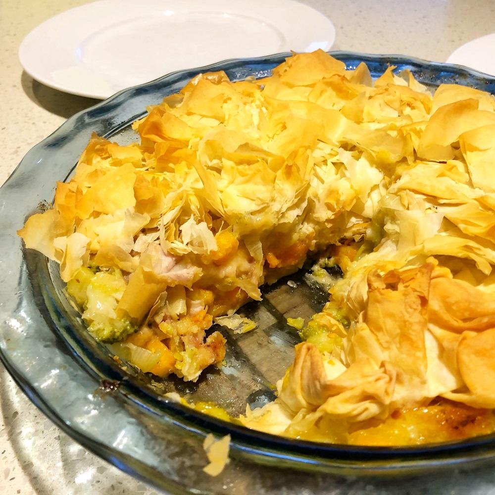 chicken leek pie - Healthy Chicken and Leek Filo Pie