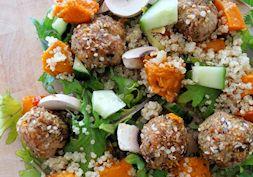 Roasted chicken dukkah balls with quinoa salad