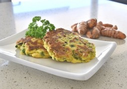 Feta, Smashed Pea And Turmeric Fritters - Light Meals